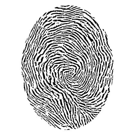 theft proof: black fingerprint isolated on white background. Illustration