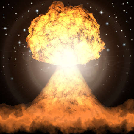 nuclear bomb: explosion. Powerful explosion of nuclear bomb. Nuclear war. Radioactive nuclear  explosion. Illustration