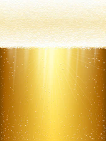 magnification: Close-up of beer and foam. Light beer. Beer in the high magnification.