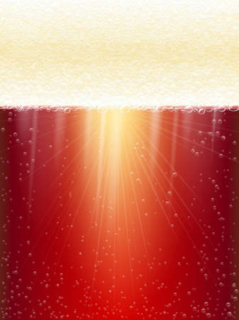 magnification: Close-up of beer and foam. Red beer. Beer in the high magnification.