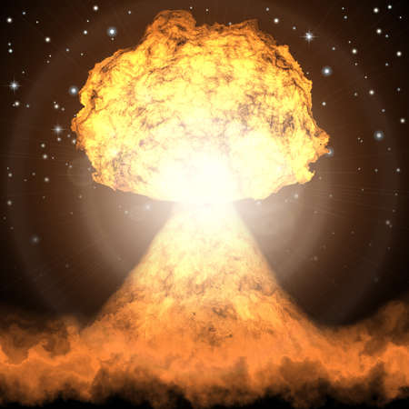 nuclear bomb: Powerful explosion of nuclear bomb. Nuclear war. Radioactive nuclear explosion.