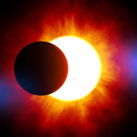 Solar eclipse. Planet against the background star. One planet close to a star.