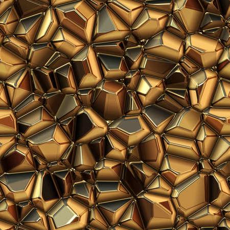 metallic texture: Seamless abstract background of metal. Crystal texture. Gold metal texture. Abstract polygonal background. 3D illustration. Stock Photo