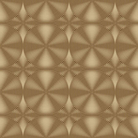 ironworks: Seamless gold pattern of intersecting circles. Seamless modern ornament. Circular metal texture. Raised metal.