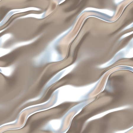 Vloeibaar zilver. Naadloze grijs golvend oppervlak. Light zijde. Zilver metaal. Textuur of achtergrond. Stockfoto