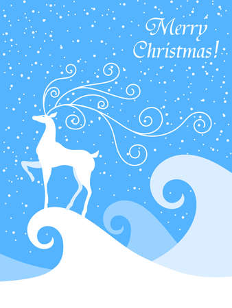 snowdrifts: Christmas vector illustration of the silhouette deer. Deer with beautiful spiral horns. Snowdrifts and snow. Blue and white card. EPS 10.