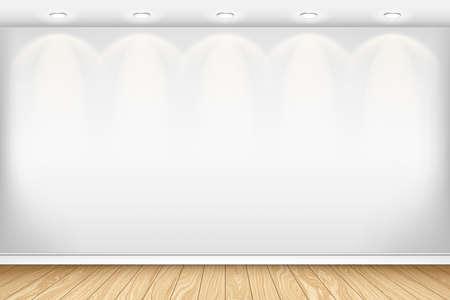 Lege witte muur en parket. Interieur lege ruimte. Vector illustratie EPS 10. Horizontale achtergrond. Stock Illustratie