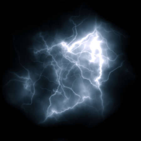 Lightning bolt. Bright flash of lightning closeup on black background.