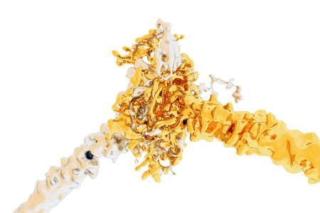 Splash of gold and silver. Liquid metal. Two streams merge together. Isolated on a white background. 3d rendering. High resolution. Archivio Fotografico