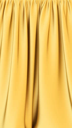 Golden fabric. Gold stage silk curtain. Beautiful vertical background. High resolution.