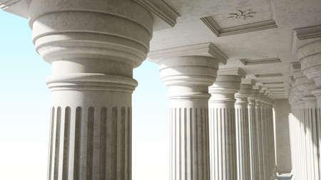 Colonnade with daric columns. Public building. Ancient greek temple. 3d rendering.