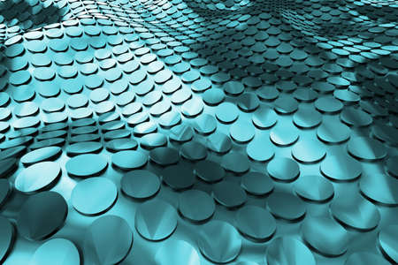 Blue hi-tech background whith circles. Embossed surface. 3d rendering.