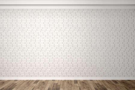 Empty white brick wall with parquet floor. Interior empty room. Horizontal background.