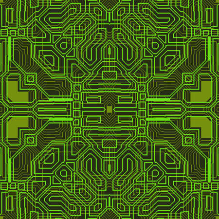 Abstract green circuit board. Seamless background or texture. Stockfoto