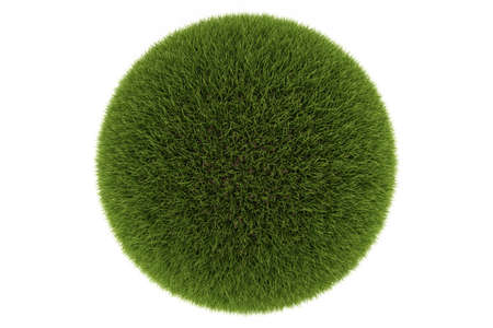 Green grass ball isolated on a white background. Beautiful green dense lawn. 3d rendering.