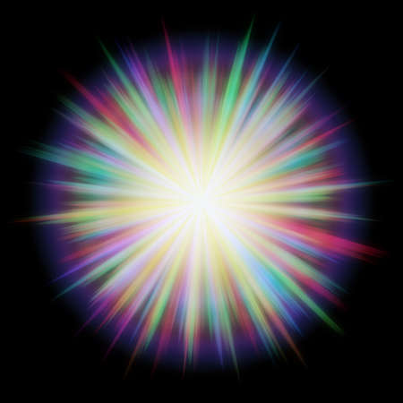 Multicolored flash on the black background. Stock Photo