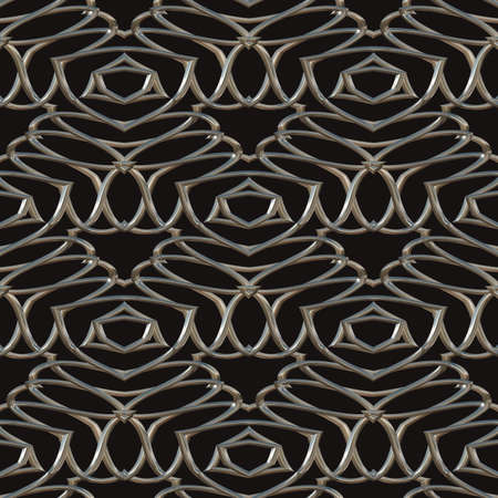Seamless metal ornament. Chrome pattern isolated on a black background.