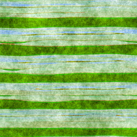 Watercolor paper with green print. Colorful cloth striped pattern.