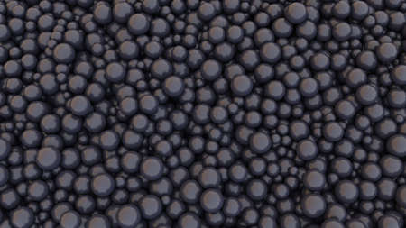 Black pearls background. Many scattered pearls. 3d rendering illustration. High resolution. Stockfoto