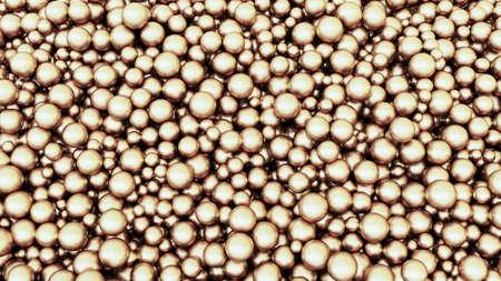 Metallic golden spheres. Gold balls. Abstract background. 3d rendering illustration. High resolution.