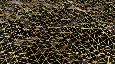 Black and gold abstract polygonal background. Gold mesh. Triangle pattern. Wavy surface. 3d rendering illustration. High resolution. Stockfoto