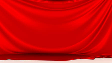 Red silk fabric on white floor. Red stage silk curtain. Beautiful background. High resolution.