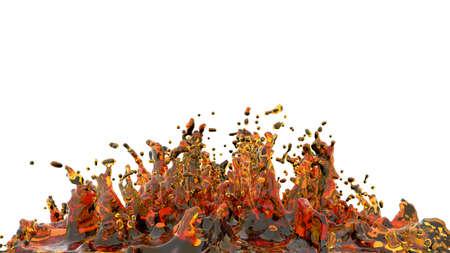 Cola splash. Isolated on a white background. Golden paint or gel splash illustration. 3d rendering. High resolution.
