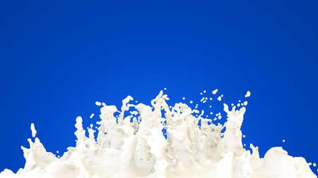 Splash of milk on a blue background. White paint splash illustration. 3d rendering. High resolution.