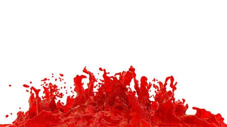 Splash of red juice. Isolated on a white background. Red wine splash illustration. 3d rendering. High resolution. Stockfoto