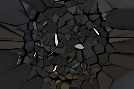 Broken black mirror. Black abstract polygonal background. Deformation black surface. 3d rendering illustration. High resolution.