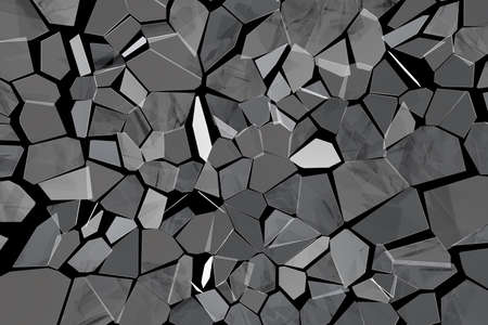 Broken glass. Black abstract polygonal background. Deformation glass surface. 3d rendering illustration. High resolution.
