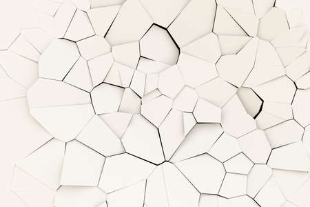 Broken white surface. Abstract polygonal background. 3d rendering illustration. High resolution.
