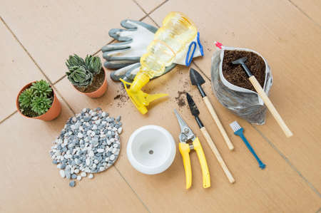 shear: Home gardenings basic tools and items. Besides the plants ready for re-pot, mixed soil and small decorative rocks, tools like trowel, spade, water sprayer, gloves, brush and shear are needed. Stock Photo