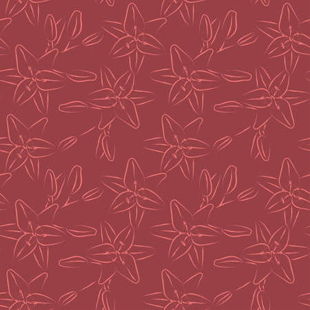 Lilia seamless pattern. Vecto r illustration. Fabric wallpaper print texture.