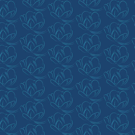Vector seamless pattern with contour stylized Magnolia. Beautiful floral background. Can be used for textiles, wallpaper book covers, packaging, wedding invitations. Vector Illustration