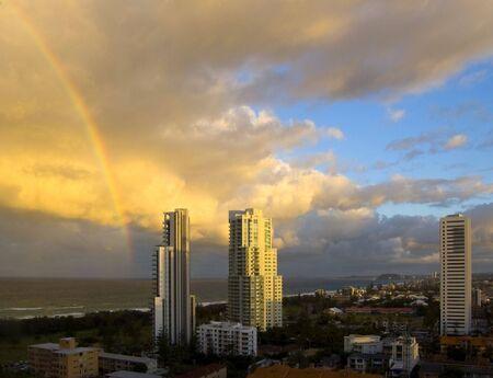 surfers paradise: rainbow over Surfers Paradise