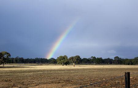 atmospheric phenomena: rainbow over field
