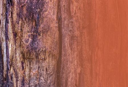 rust red: Cerca de la corteza de los �rboles con los cantos verticales, de color rojo �xido, gris y marr�n, para la copia o la textura Rust plantilla en formato horizontal derecho Foto de archivo