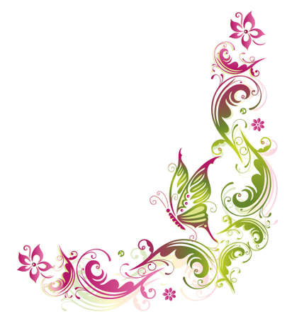 Flower, Summer, butterfly, green, pink Vector