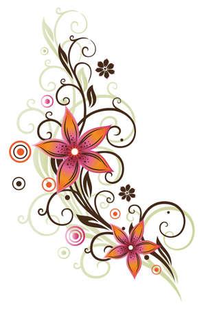 lithe: Flower, summer, retro, orange, pink