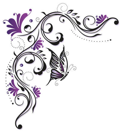 Flowers, butterfly, purple, violet Vector