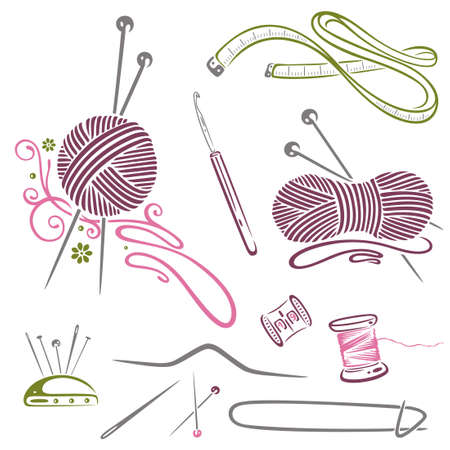 Needlework, knitting, wool, crochet Vector