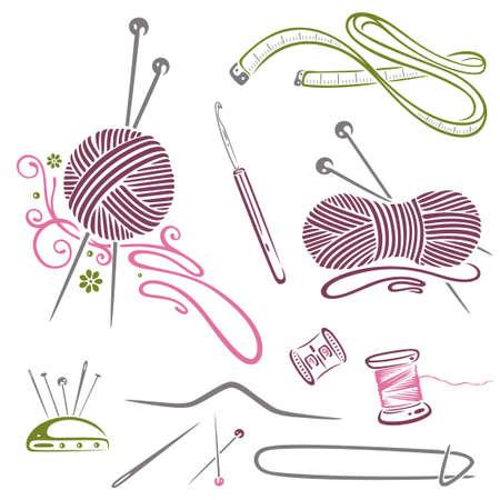 řemesla: Vyšívání, pletení, vlna, háčkování Ilustrace