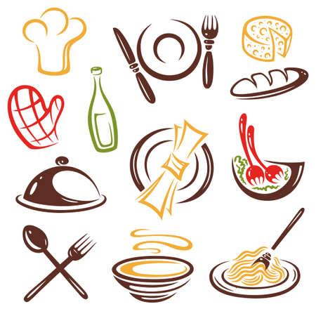 logos restaurantes: Cocinero, cocina, conjunto de vectores