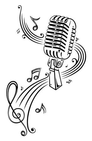 Sheet music, music, microphone Vector