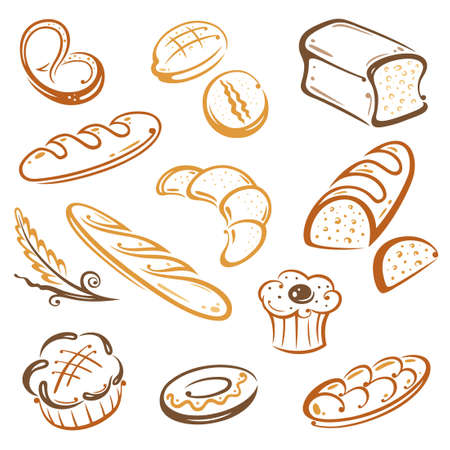 Vector Set of bread and breakfast Vector