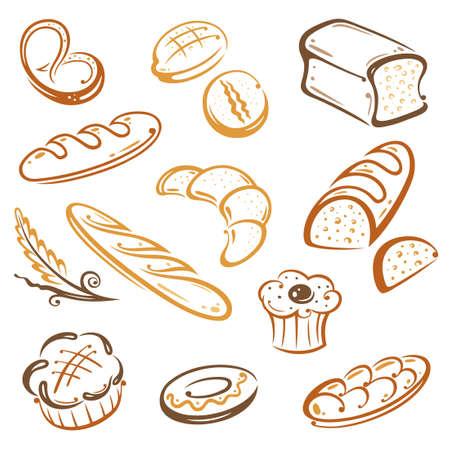 Vector Set von Brot und Frühstück