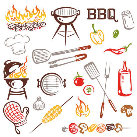 charcoal grill: BBQ, Grilling Set Vector
