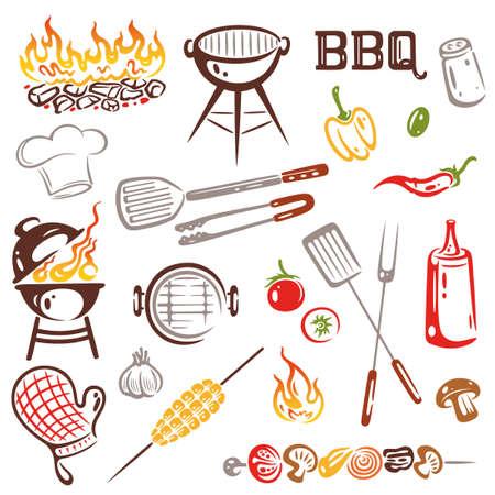bbq grill: BBQ, Grilling Set Vector