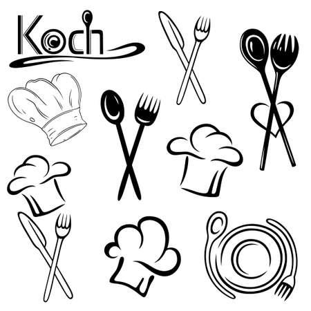 logos restaurantes: Gastronom�a Set Vector